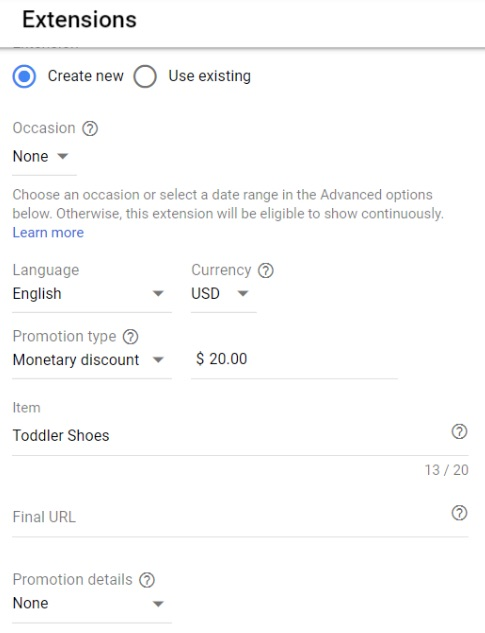 Setting up a Google ad promotion extension